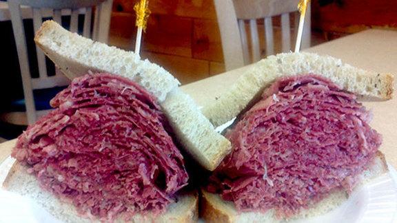 Hot corned beef sandwich at Pomperdale Deli