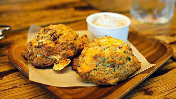 Chef Sven Mede reviews Bacon cheddar buttermilk biscuits at Manhattan Beach Post
