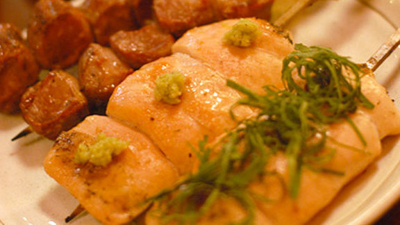 Chicken liver yakitori at Shin-Sen-Gumi Yakitori