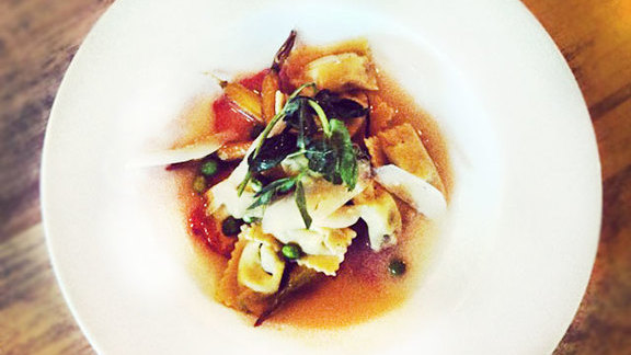 English pea agnolotti at Beast + Bottle
