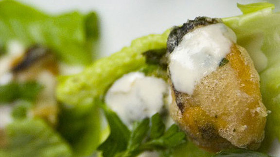 Chef Tim Maslow reviews Fried mussels at Oleana