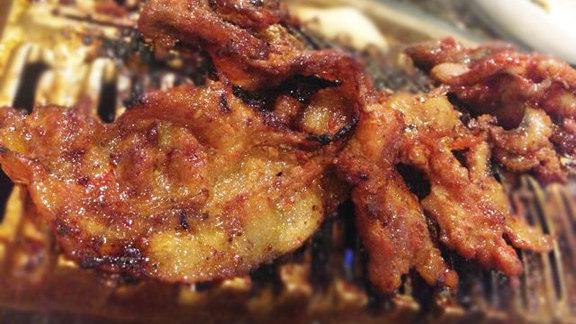 Spicy black pork belly at Shilla Restaurant