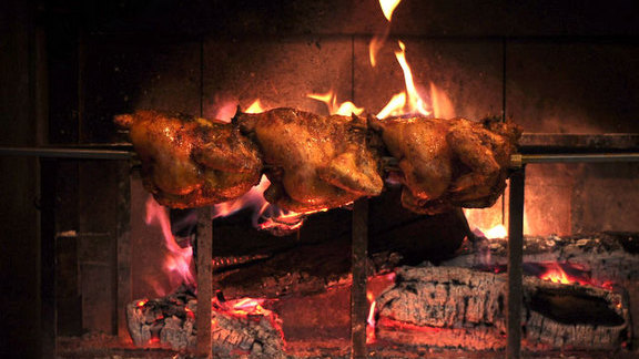Whole spit-roasted Fulton Valley chicken at Comal