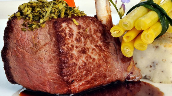 Chef Katherine Humphus reviews Country meadow rack of lamb at Marine Room