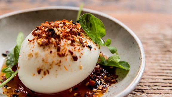 Chef Aaron London reviews Deviled egg at Octavia