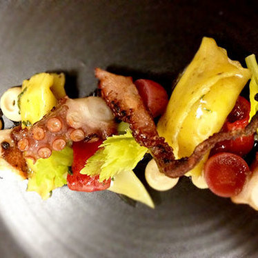 Grilled octopus & charred lemon agnolotti at Nine-Ten Restaurant and Bar