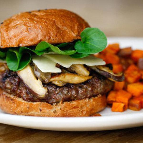 Medium grass fed bison burger true food kitchen wb