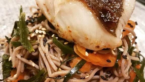 Chef Francis Hogan reviews Diver foraged fresh seaweed with Sake Kasu cured Monterey Black Cod, soba noodles, Nantes carrots, and Meyer Kosho dressing. Umami bomb! at Sabio on Main