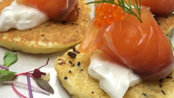 Chef Josh Niernberg reviews NYE 1st course: house cured Skuna bay salmon blini at