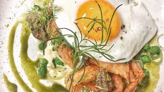 Soft shell crab, egg, peas, morels, leeks and lemon aioli at Ironside
