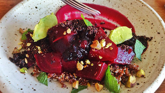 Chef Genevieve Gergis reviews Beets and berries salad at