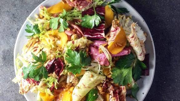 Chef Nick  Curtola reviews Chicory Salad, Persimmon, Baharat Spiced Cashews, Tahini Vinaigrette at The Four Horsemen