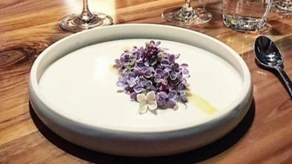 Asparagus and lilac flower at Smyth
