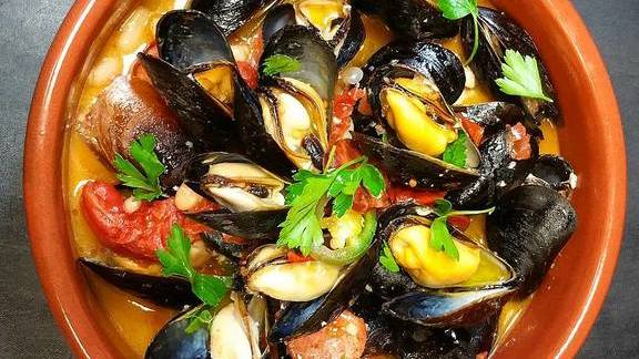 Mussels and chorizo broth at Farm Shed Dinners