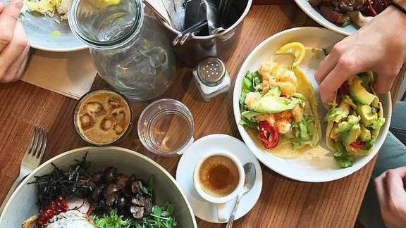Tempura shrimp, bibimbap bowl and salmon tartare at Little GEM