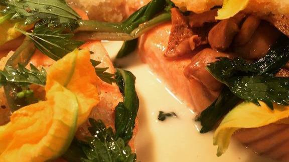 Chef Brian Redzikowski reviews Salmon, nettles, ramps, and butter at Kettner Exchange