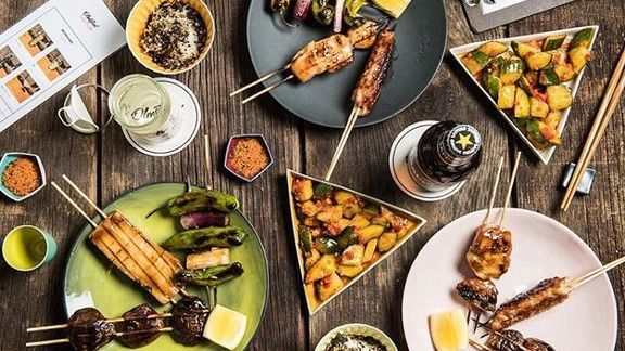Yakitori with roasted peppers, eggplant and beer  at Olmsted