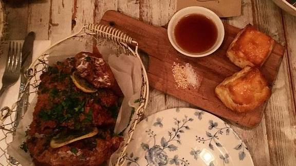 Fried chicken and gluten-free biscuits at Root & Bone