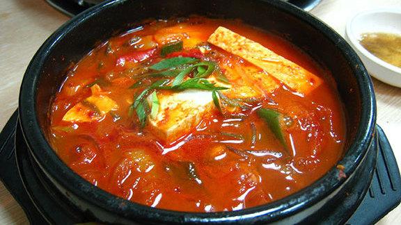 Kimchi beef tofu soup at Lighthouse Tofu & BBQ