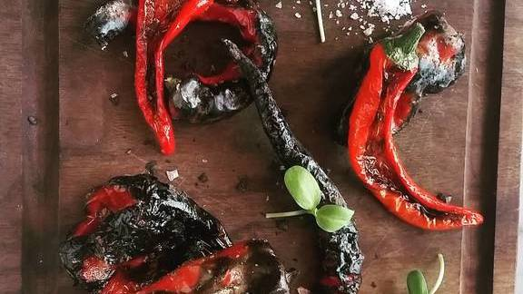 Roasted Basque peppers with sea salt at Cooks & Soldiers