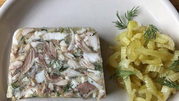 "Black bass ""fromage de tête,"" celery agrodolce at Bisq"