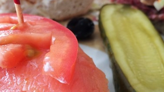 Lox, whitefish, cream cheese on a bagel at Langer's Delicatessen-Restaurant