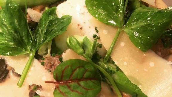 Chef Brian Redzikowski reviews Poached egg, morel mushroom, asparagus, and parmesan at Kettner Exchange