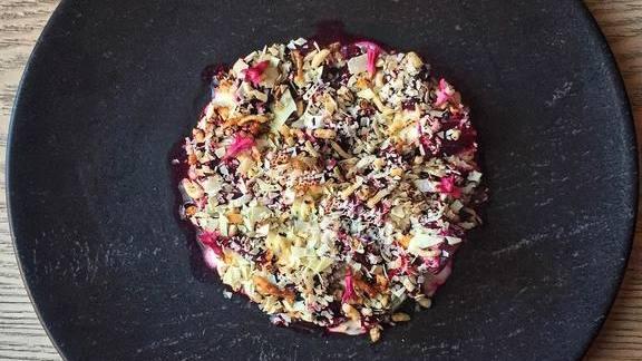 Grilled beetroot, fresh yogurt, puffed rice and horseradish at Juniper