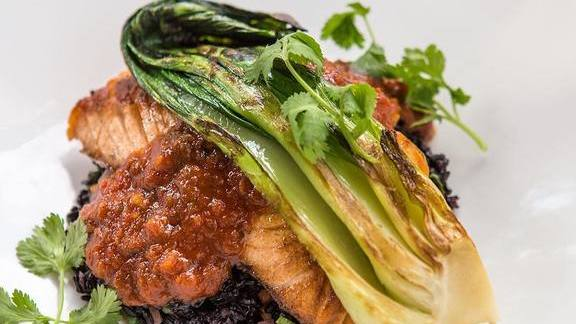 Chef Nguyet Nguyen reviews Skuna Bay Salmon with Forbidden Black Rice, Korean BBQ, Broiled Bok Choy and Vegetables at Hubbell & Hudson Bistro