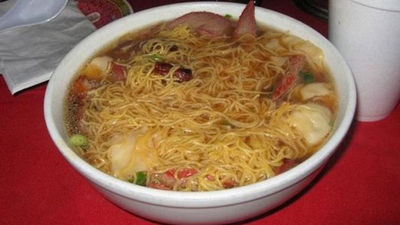 Roasted pork wonton noodle soup w/ greens at Sang Kee Peking Duck