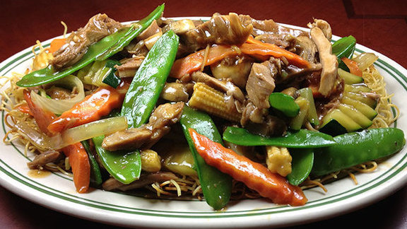 Roast duck strips w/ noodles at Sun Wah BBQ