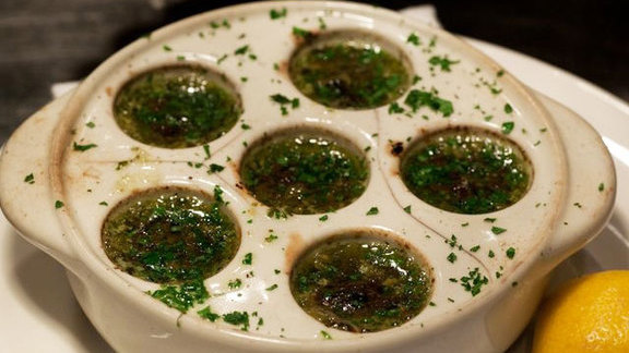 "Burgundy snails ""escargot"" at Maude's Liquor Bar"