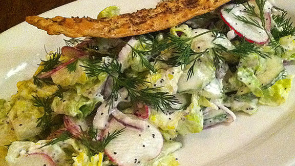 Cucumber & radish salad at Employees Only