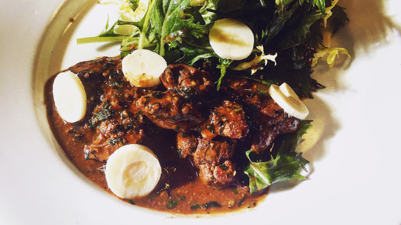 Chef Adam Timney reviews Pan seared Petaluma chicken livers at