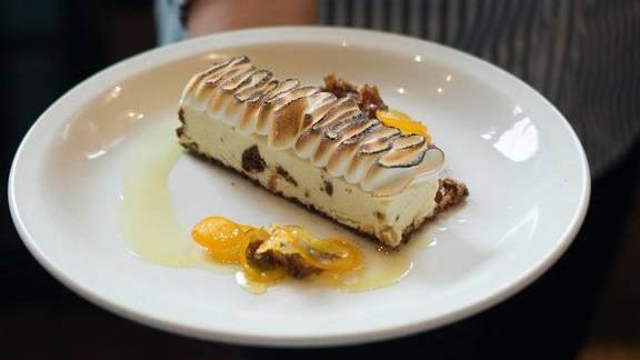 *New Dessert* Meyer Lemon Semifreddo with Torched Meringue at Nopa