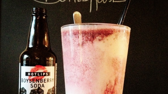 Boysenberry Hot Lips Soda ice cream float at Bottlehouse