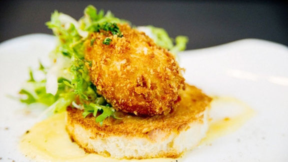 Chef Eric Gregory reviews Crispy soft poached Chip-in Farm egg at