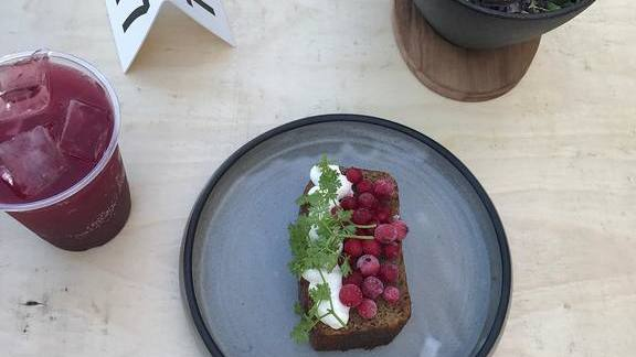 Spice bread with creme fraiche, black currant, wood sorrel  at Destroyer