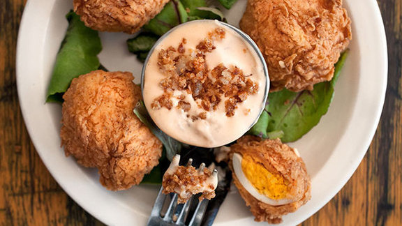 Chef Josh Watkins reviews Deep fried deviled eggs at Lucy's Fried Chicken