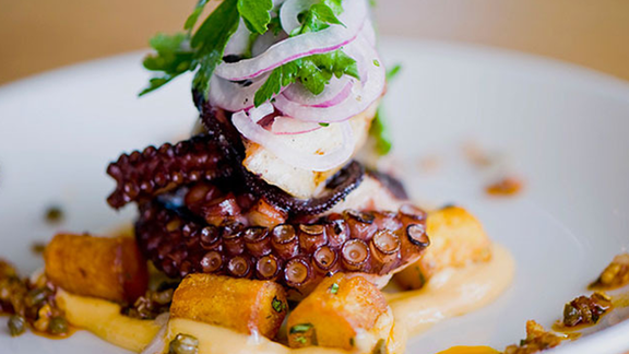 Grilled octopus & papas bravas at Perla's Seafood and Oyster Bar
