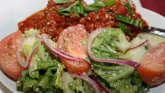 Meatballs w/ Romaine salad at Viaggio