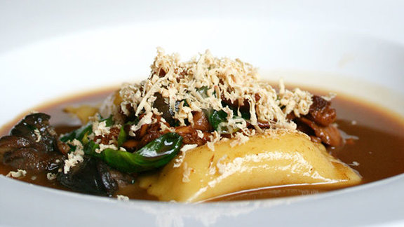 Porcini agnolotti at Longman & Eagle