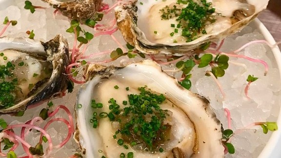 Oysters with serrano mignonette at Broken Spanish