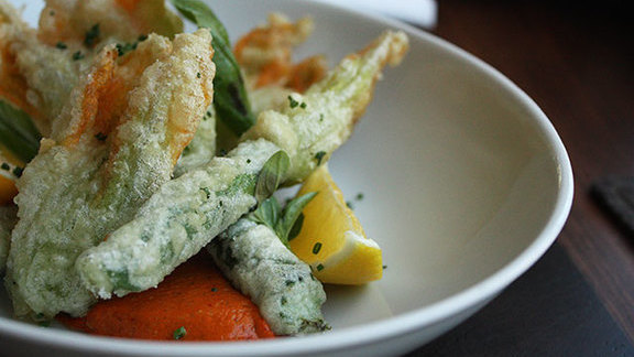 Chef Michael Tusk reviews Fried squash blossoms at Frances