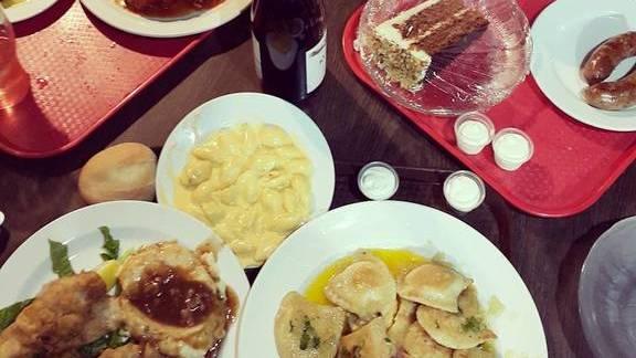 Pierogi, fried perch, and stuffed cabbage at Sokolowski's University Inn