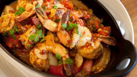 10 clove garlic Louisiana white shrimp at Borgne