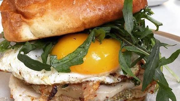 Egg, porchetta and arugula sandwich at Tartine Manufactory