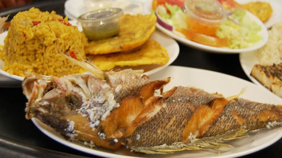 Whole yellowtail fried at Garcia's Seafood Grille & Fish
