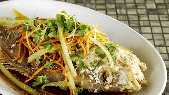 "Whole yellowtail snapper ""Chinese style"" at The River Seafood & Oyster Bar"