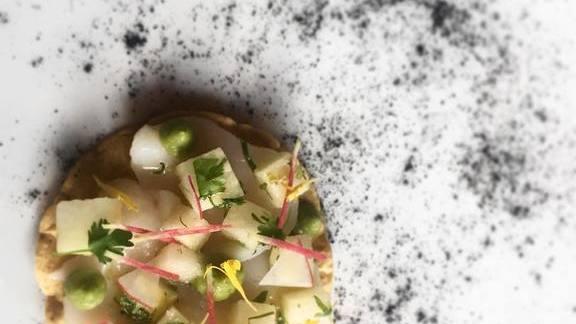 Chef Steve  Santana reviews Raw scallop tostada with Asian pear, jicama, yuzukoshō, avocado at Cantina La Veinte Miami